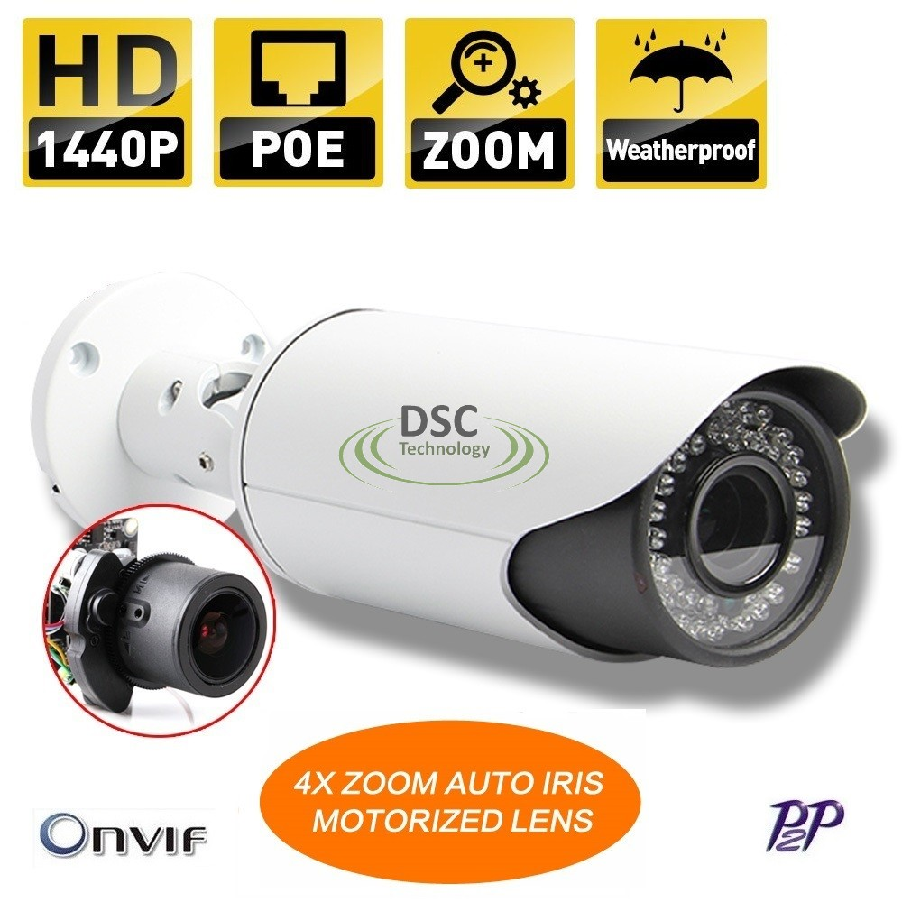 4MP POE Bullet IP Security Camera 2.8-12mm motorized lens Onvif
