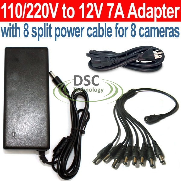 8 Ports 12V DC 7A Power Supply for Surveillance Cameras