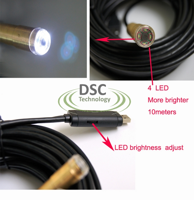 30FT USB Cable Wire Camera Snake Endoscope Spy Cam 4 LED