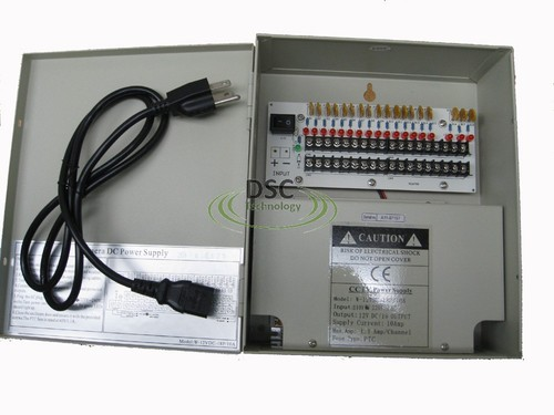 18 Channel DC Power Supply Box for Security Cameras 12VDC, 10Amp