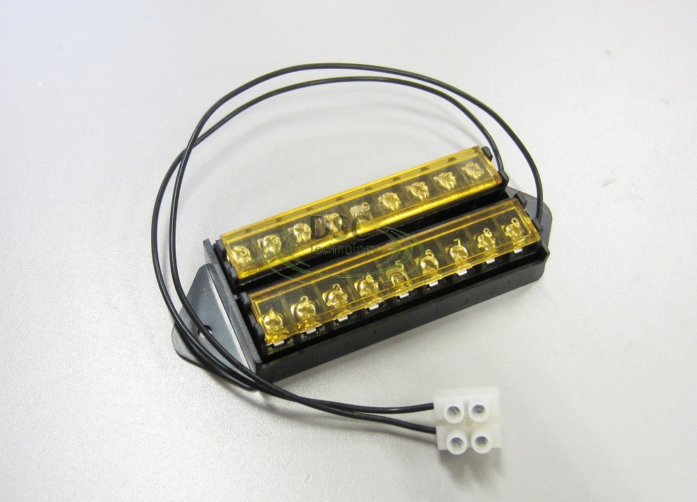 8 Way Terminal Block Bus Bar, 18AWG Wire with Cover