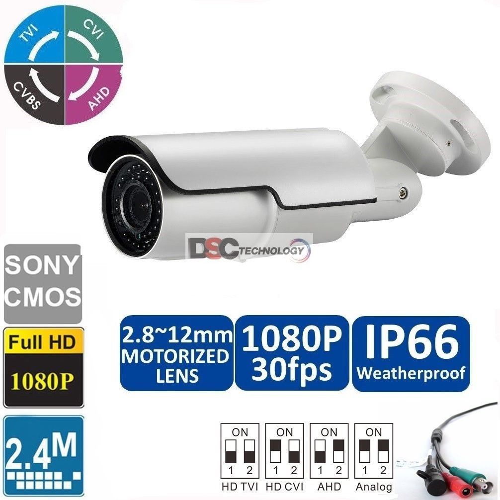 2.4MP 1080P 2.8-12mm motorized IR-Bullet Camera CVI/TVI/AHD