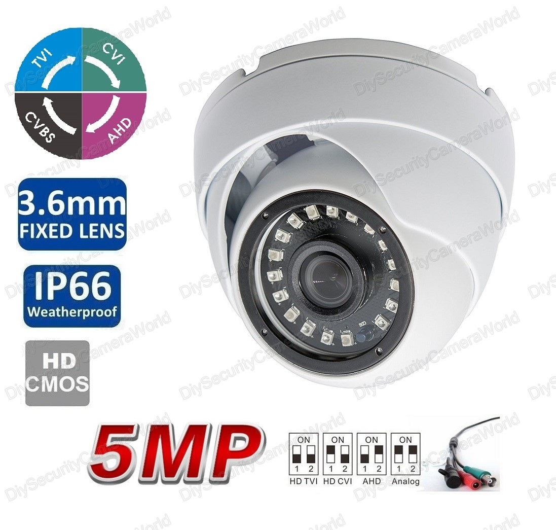 5MP (TVI/AHD)/ 4MP CVI HD IR Security Dome Camera 3.6mm Lens