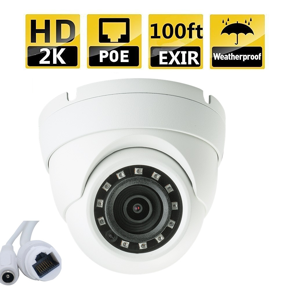 4MP HD Network IR Eyeball Camera WDR, IR100ft, POE, 2.8mm fixed
