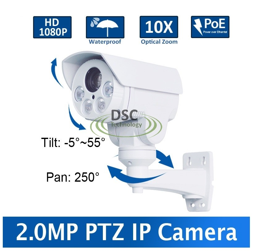 PoE 1080P Outdoor Bullet PTZ IP Camera,Card Slot 2.0MP 10X Zoom