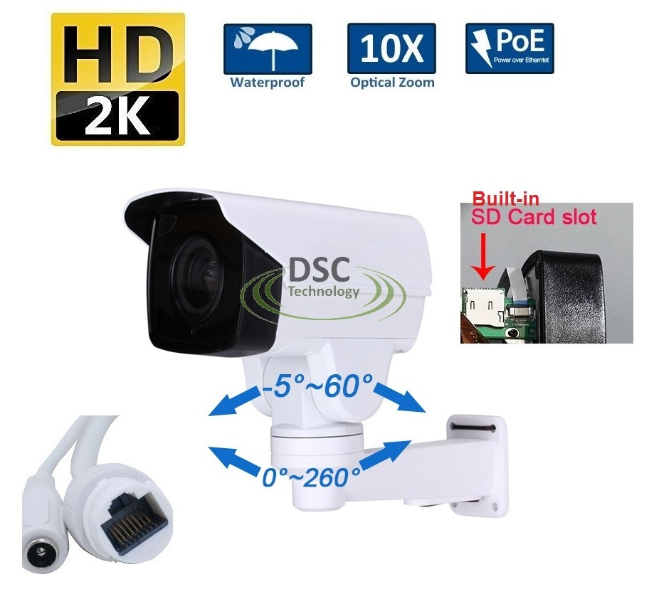 PoE 1440P Outdoor Bullet PTZ IP Camera,Card Slot 4.0MP 10X Zoom