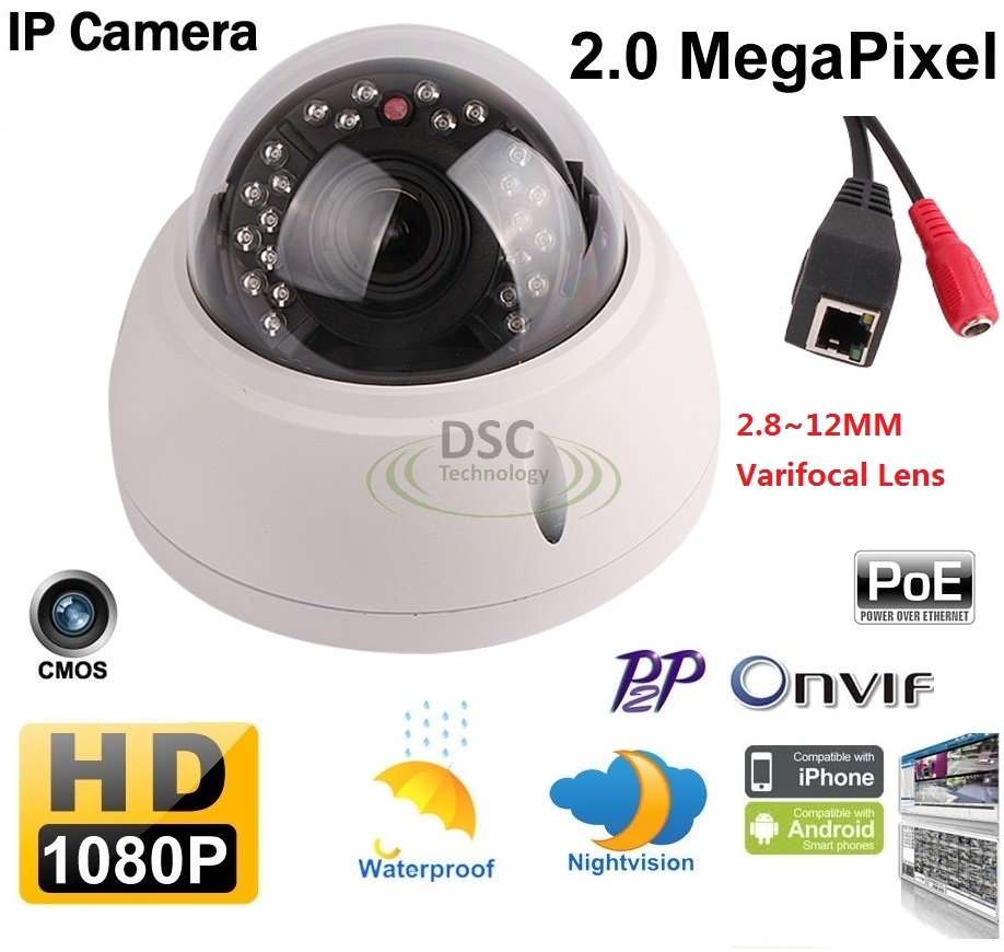 1080P 2MP Vandalproof Security IP Camera Dome 2.8-12mm PoE