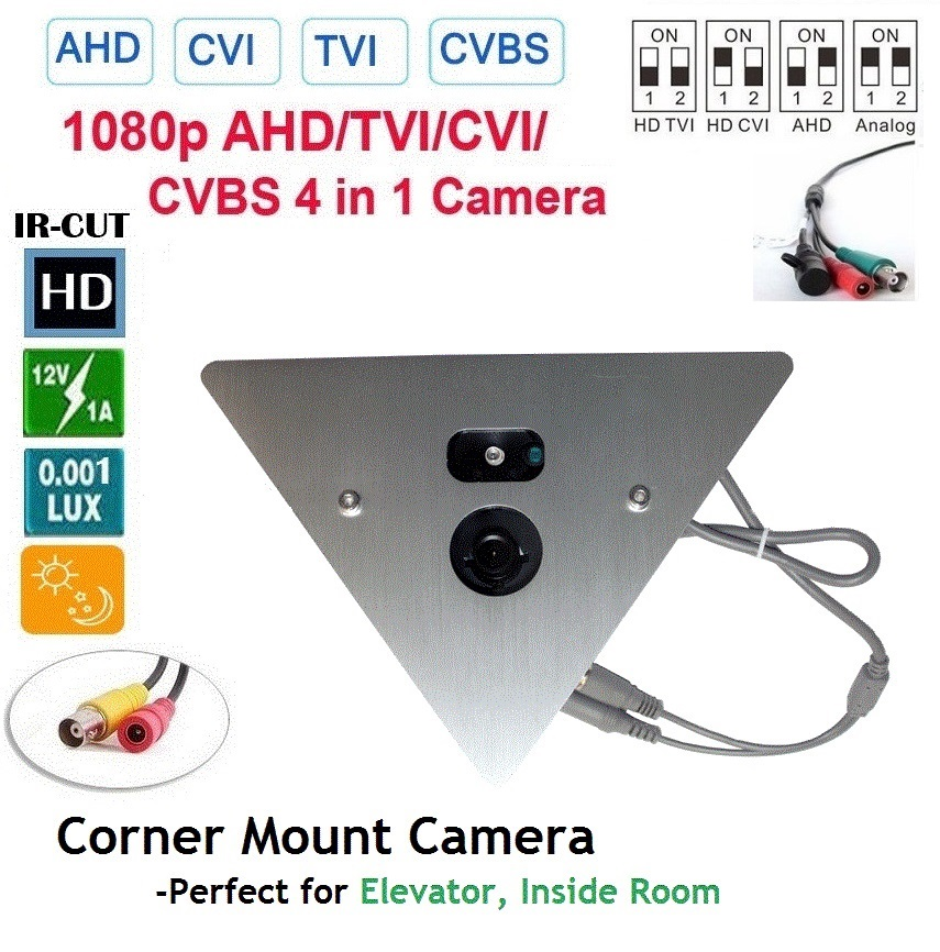 1080P 2.4MP IR Corner Mount Security CCTV Camera 2.8mm Lens BNC