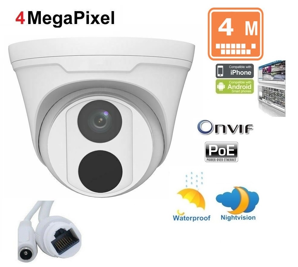 4MP IR Ultra H265 Outdoor Dome IP Security Camera Onvif