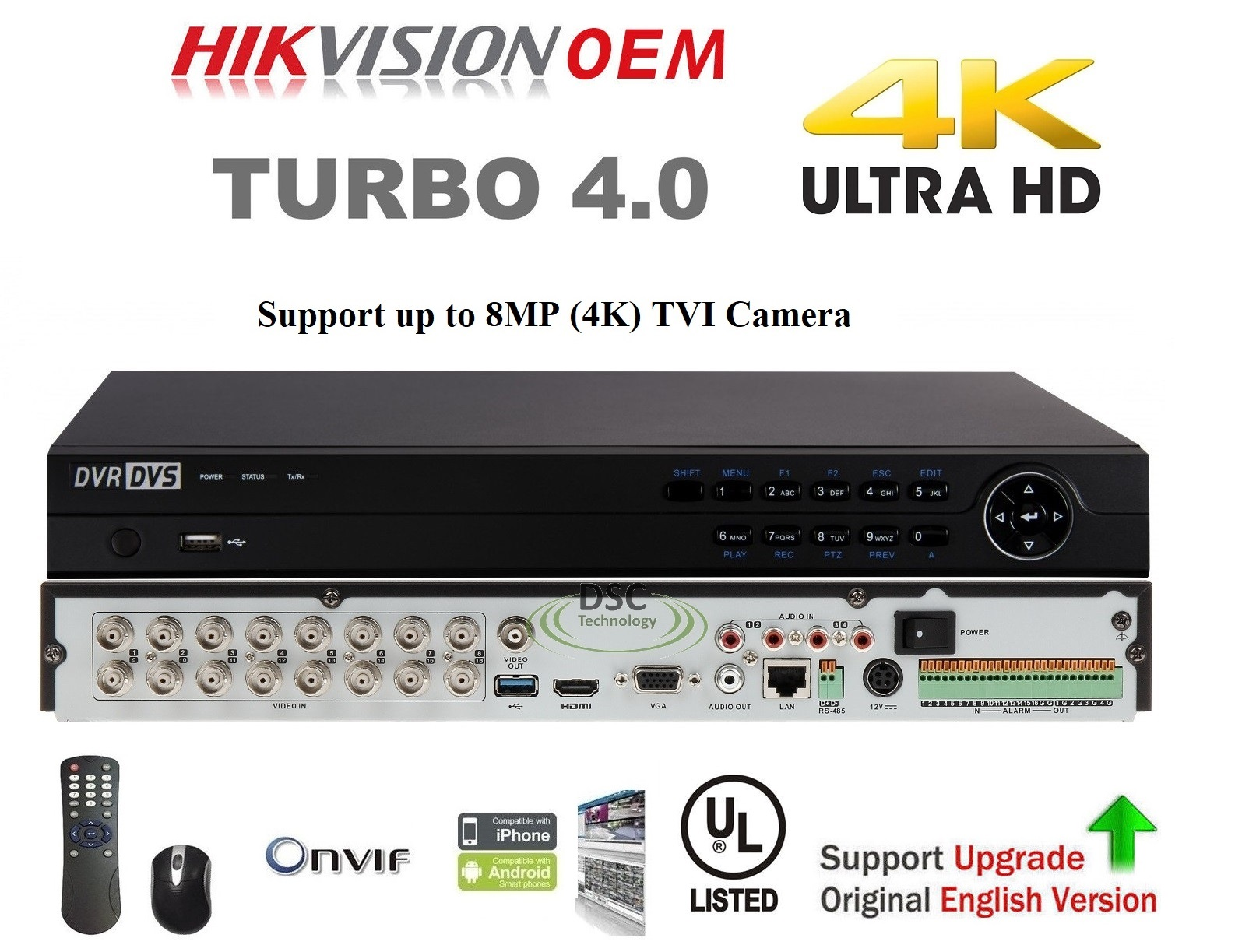 16Channel 8MP H.265+ HD Pentabrid HD-TVI/CVI/AHD IP & Analog DVR