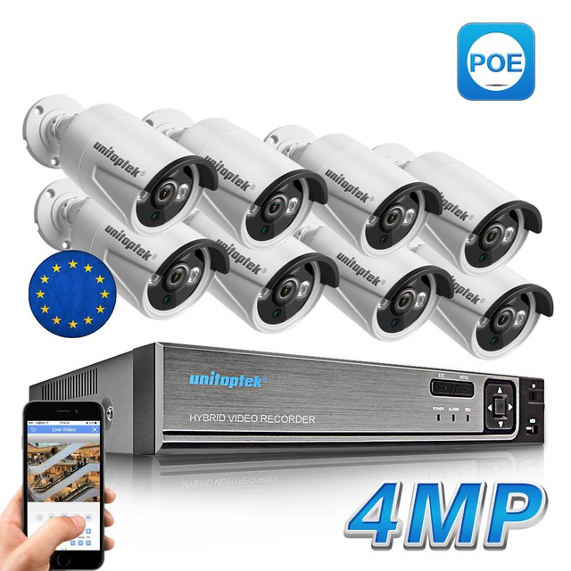 8CH H.265 POE Security Camera NVR KIT w. 8PCS 4MP PoE Camera
