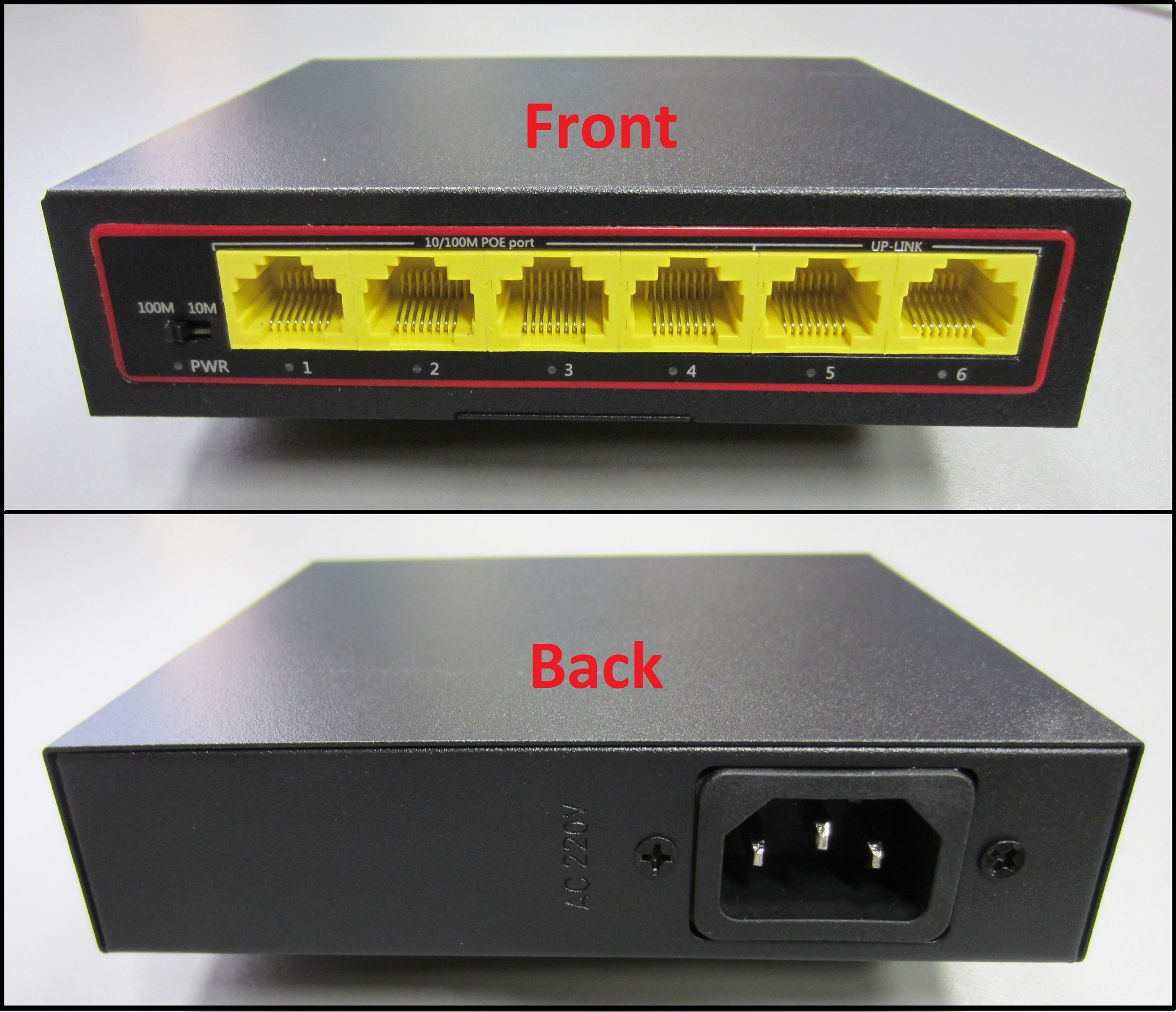 4 Port PoE+ Switch with 2 Ethernet Uplink and Extend Function