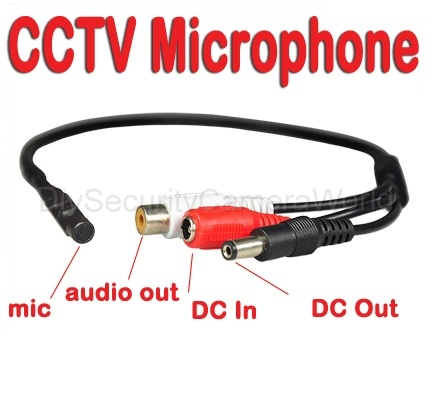 Wide Range Microphone for CCTV Security Camera DC output prot