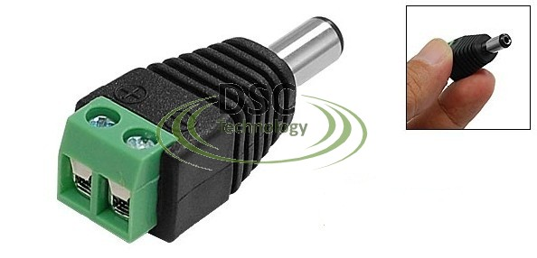 2.1mm Male Power Plug with Built-in Screw Terminal